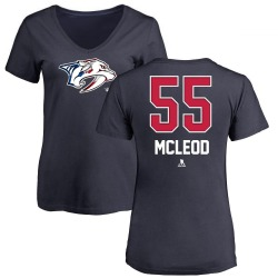 Women's Cody McLeod Nashville Predators Name and Number Banner Wave V-Neck T-Shirt - Navy