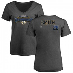 Women's Cole Smith Nashville Predators 2017 Western Conference Champions Name & Number V-Neck T-Shirt - Heather Gray